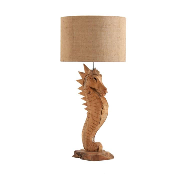 Lámpara de mesa en madera oscura envejecida de Vical