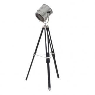 Comprar lámpara de pie tipo foco estilo industrial en acero plateado madera de roble y vidrio de Vical