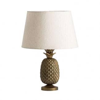 Lámpara de mesa de piña dorada con pantalla blanca de Vical