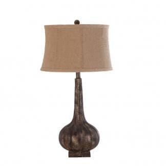 Lámpara de mesa de madera de resina y pantalla de lino. Estilo Provenzal. Marca Vical.