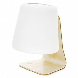 Comprar lámpara de mesa con luz recargable y batería recargable con cargador usb. Marca Novolux Exo Lighting. Pie de madera. Color Blanco.