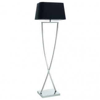 Lámpara con pie original IRIS de la marca Exo Lighting de Novolux con pantalla negra diseño clásico