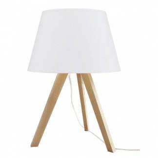 Lámpara de mesa Lars blanca con pie de madera. Estilo nórdico.