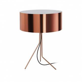 Lampara de mesa alta en color cobre diseno Diagonal Exo Novolux estilo contemporaneo