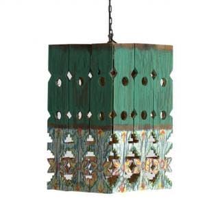 Lámpara de techo étnica verde