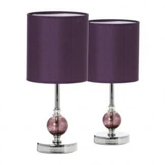 Lámpara de mesa en color oscuro con base de acero y cristal