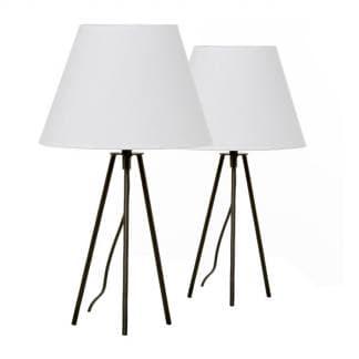 Lámpara de mesa blanca con base de tres patas en color negro