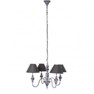 Lámpara de pie clásica en metal gris envejecido