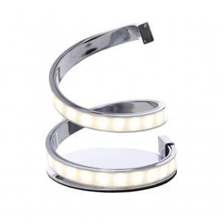 Lámpara de mesa con dos espirales led y metal cromado