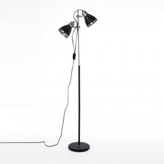 Lámpara de pie con flexos orientables y altura regulable en color negro