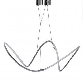 Lámpara de techo con ondas en metal cromado y tira led