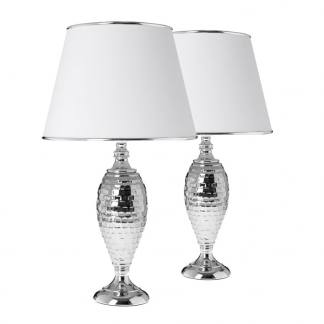 Lámpara de mesa en metal martillado con campana en blanco