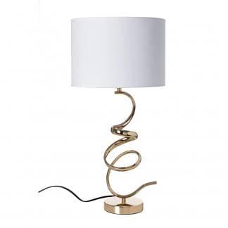 Lámpara de mesa blanca y dorada con pie original con formas curvas irregulares
