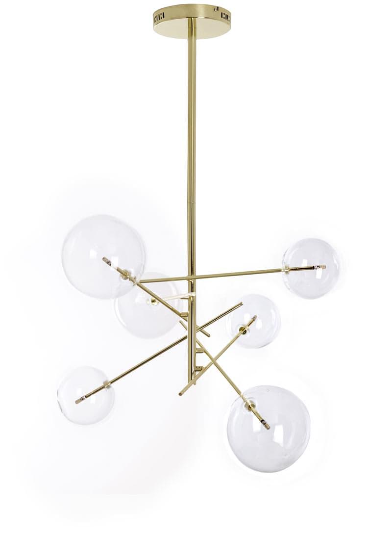 Lámpara de bolas cristal de techo deco dorada Art con roedBCWx
