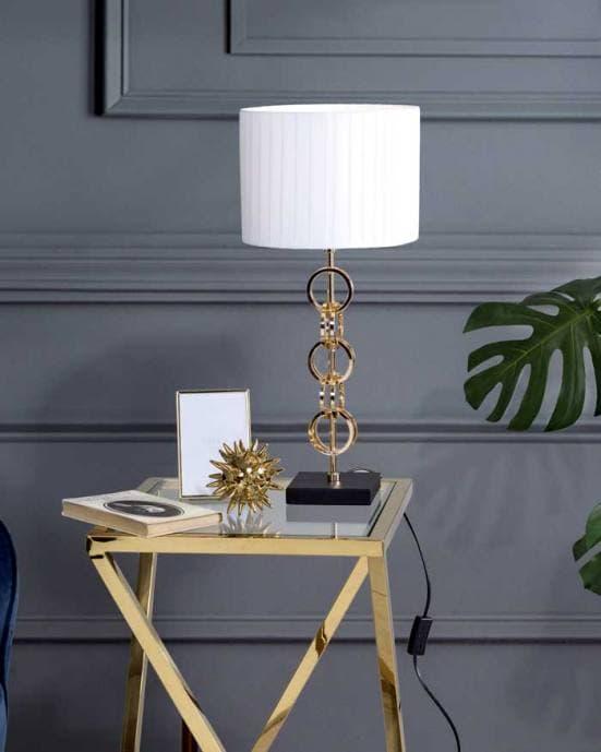 Lámpara de mesa elegante blanca, negra y dorada decoración