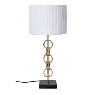 Lámpara de mesa elegante blanca, negra y dorada