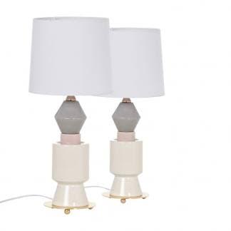 Lámpara de mesa de cerámica en color blanco, gris y rosa (2 unidades)