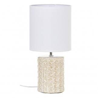 Lámpara de mesa pequeña con base de cerámica verde pastel