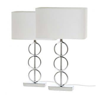 Juego de lámparas de mesa blanca con círculos plateados