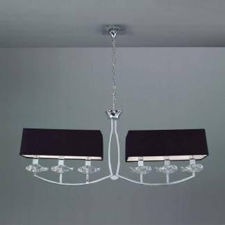 Lámpara de techo cromo negro akira mantra seis luces