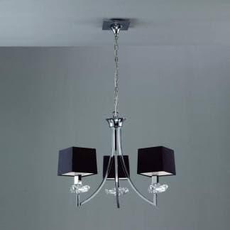 Lámpara de techo cromo negra akira mantra tres luces