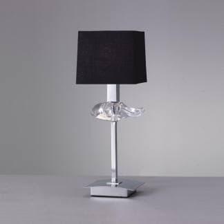 lámpara de mesa negro y cromo akira mantra