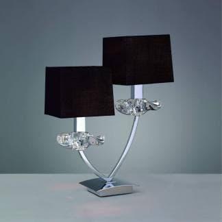 Lámpara de mesa cromo negra akira mantra dos luces