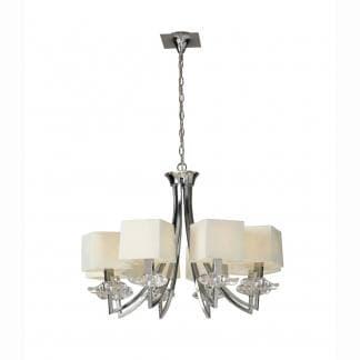 Lámpara de techo cromo y crema akira mantra ocho luces