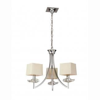 Lámpara de techo cromo crema akira mantra tres luces