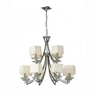 Lámpara de techo cromo y crema akira mantra doce luces