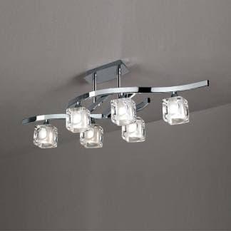 Lámpara de techo plafón cuadrax cromo cristal mantra seis luces