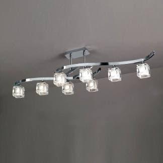Lámpara de techo corta cuadrax cromo cristal mantra ocho luces