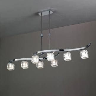 Lámpara de techo cromo cristal cuadrax mantra ocho luces