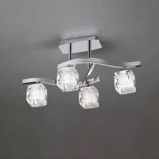 Lámpara de techo plafón cromo cristal cuadrax mantra cuatro luces