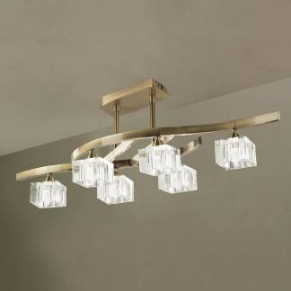 Lámpara de techo plafón cuadrax cuero cristal mantra seis luces