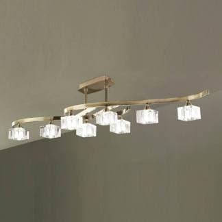 Lámpara de techo plafón cuadrax cuero cristal mantra ocho luces
