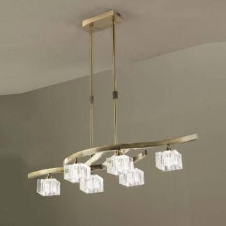 Lámpara de techo cristal cuero cuadrax mantra seis luces