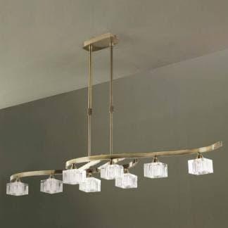 Lámpara de techo cuadrax cuero cristal mantra ocho luces