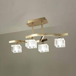 Lámpara de techo cuadrax cuero cristal mantra cuatro luces