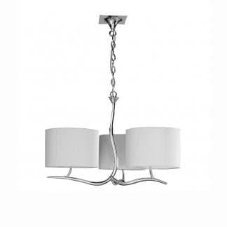 Lámpara de techo cromada triple pantalla blanca eve mantra
