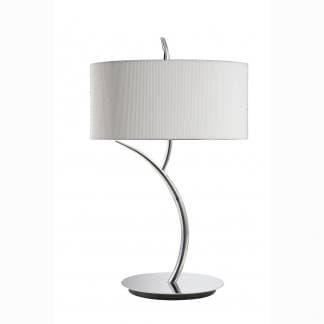 Lámpara de mesa cromo con pantalla blanca eve mantra