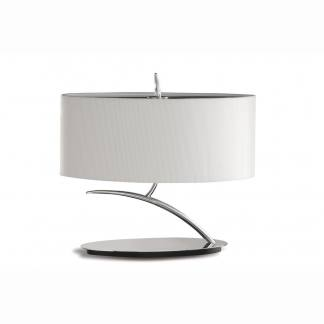 Lámpara de mesa baja cromo pantalla blanca eve mantra