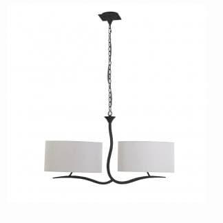 Lámpara de techo antracita y doble pantalla blanca eve mantra