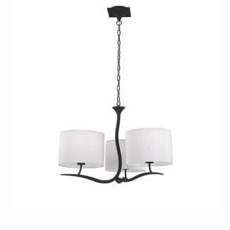 Lámpara de techo antracita triple pantalla blanca eve mantra
