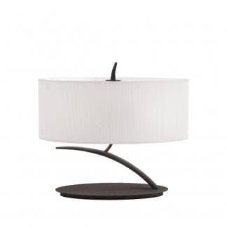 Lámpara de mesa antracita pantalla blanca eve mantra