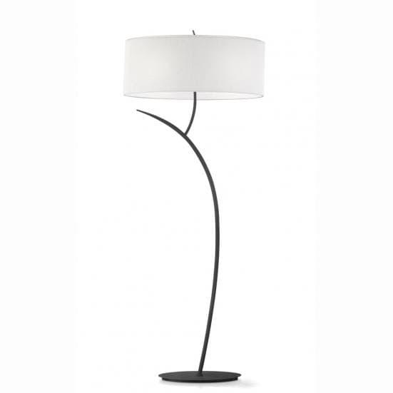 Lámpara de pie antracita con pantalla blanca eve mantra
