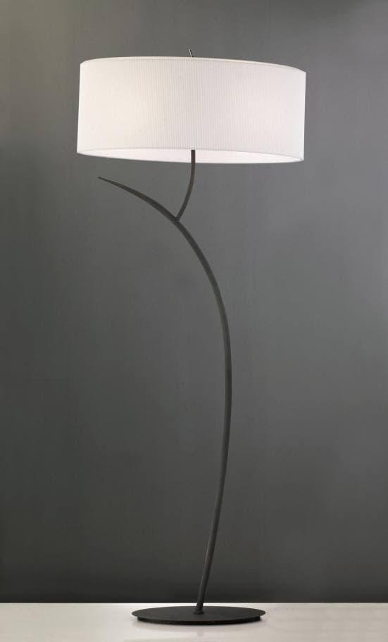 Lámpara de pie elegante antracita con pantalla blanca eve mantra