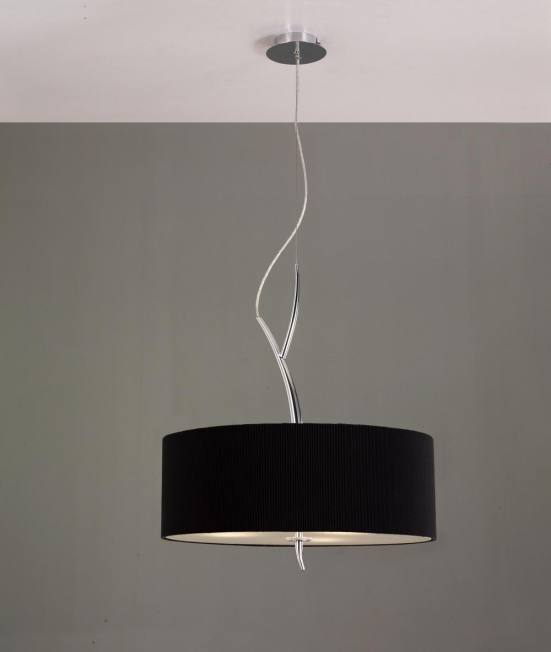 Lámpara de techo cromo con pantalla negra eve mantra