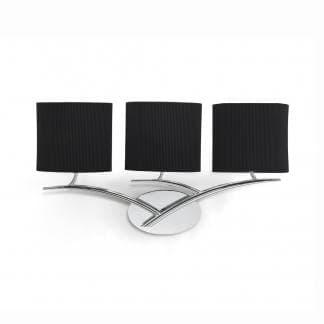 Aplique de pared cromo con triple pantalla negra eve mantra