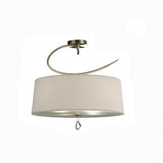 Lámpara de techo pantalla blanca mara cuero mantra corta